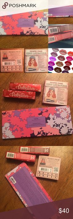 Tarte empower flower &Lip bundle Bundle of four new unswatched items. Tarte Empower Flower Palette. Cindy-Lou Manizer, Lime Crime Velvetines Liquid Matte Lipsticks in Bleached and Salem. I am getting out of makeup sales. It is frustrating having to confirm authenticity of Palettes because of the crazy number of black market sales. This bundle is significantly discounted. tarte Makeup Eyeshadow