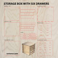 Storage box with drawers. Project plan for laser cut. от cartonus