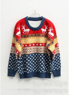 Multi Sweater - Round Neck Oversized Christmas Jumper | UsTrendy