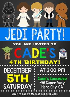 Star Wars Invitation Star wars Invite Star wars birthday Star