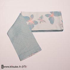 Hanhaba Obi Bleu clair motif papillon - kitsuke.fr