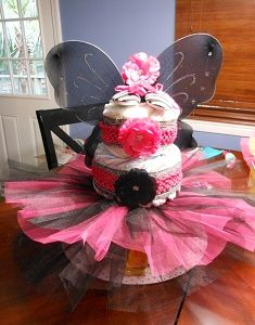 Such a cute idea!! Now I just need to find someone having a girl that I can make it for......  DIY Custom Diaper Cake. Super cute and stuffed with goodies for mom-to-be!