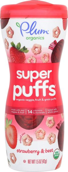 Plum Organics Super Puffs - Strawberry And Beet - Case Of 8 - 1.5 Oz.