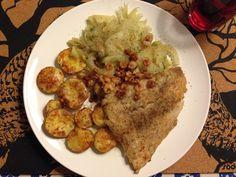 Rødspættefilet med bagte kartofler og fennikel
