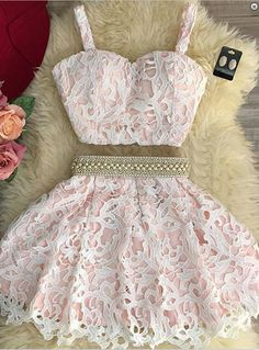 Cute lace pink two pieces pearl short party dress , casual dress with straps for teens