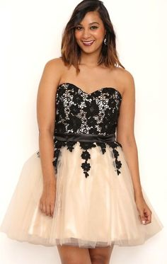 Deb Shops Plus Size Sweetheart Strapless Lace Dress with Ballerina Skirt $55.50
