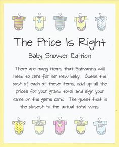 Baby Shower Game  The Price Is Right by CardsByKooper on Etsy, $12.00