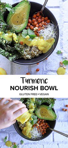 Vegan, gluten free buddha bowl recipe featuring the super spice Turmeric