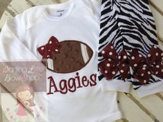 Baby Girl Football oufit -- Football Princess -- football bodysuit and zebra leg warmers - CHOOSE colors to match YOUR TEAM