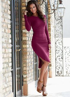Ruched uneven dress, heel in the VENUS Line of Dresses for Women