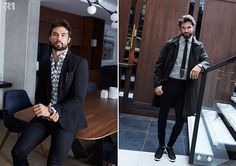 Left: Walter Savage livens up a LE 31 blazer and stretch jeans with an indigo leaves print shirt. Right: Walter taps into LE 31's smart casual style with a trench and joggers.