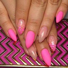 Matte Neon Pink + Nude Stiletto Nail Design