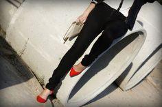 Black,white, pop of red