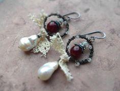 Bohemian assemblage patina earrings / rustic by KotafkiiKowi