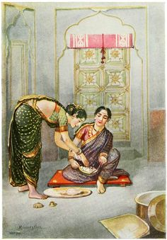"""vintageindianclothing: """" These are examples of the nine-yard sari as worn in Maharashtra. The lower half is like the dhoti i. the cloth is taken between the legs and tucked into the back and the. Ravivarma Paintings, Indian Art Paintings, Indian Artwork, Indian Women Painting, Indian Artist, Watercolor Paintings For Beginners, Watercolor Art, Indian Illustration, Magazine Illustration"""