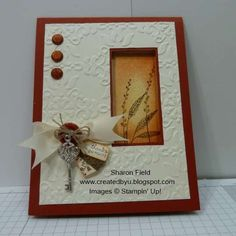 Layered and sponged fall card with window by sharonstamps - Cards and Paper Crafts at Splitcoaststampers (try w/ wildlife sets) Fall Cards, Christmas Cards, Penny Black, Window Cards, Embossed Cards, Thanksgiving Cards, Card Tutorials, Sympathy Cards, Copics