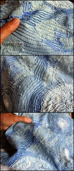 """JUDY MARTIN : Rough couching, over raveled weft threads, un-separated floss, and narrow strips of denim. It evokes Starry Night. """"The threads and fabrics are familiar things used in an unfamiliar way. What is usually used to make a neat seam or a mended pocket, is used here in a messy and raveled manner."""" Read her post and enjoy the detail photos."""