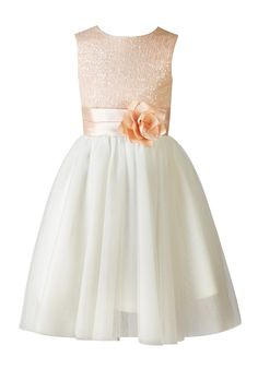 Thstylee Girl's Sequin Tulle Flower Girl Dress Junior Bridesmaid Dress 12T Blush Pink