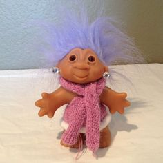 "2005 5"" Troll Baby Purple Hair Brown Eyes by Dam Norfin-Earrings-Pink Scarf  #DamNorfin #TrollBaby"