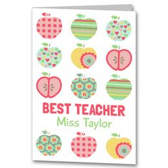 Personalised Apple Teacher Thank you Card £2.75
