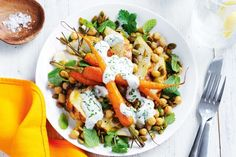 Spiced chicken, roasted carrot and chickpea salad