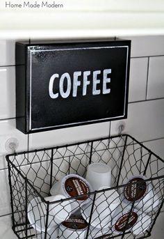 spruced up coffee station and hanging k cup holder, crafts, kitchen backsplash, Hanging K cup holder