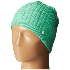 BULA Melanie Beanie (Jade) Beanies ($24) ❤ liked on Polyvore featuring accessories, hats, green, green beanie, cable beanie, cable knit beanie hat, cable hat and beanie cap