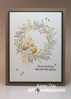 Karen Day: Art Impressions WC Flower Sets 2 & WC Harvest Set, and WC Fall Set; watercolor with Tombow Markers Wreath Watercolor, Watercolor Cards, Watercolor Paintings, Tombow Markers, Art Impressions Stamps, Fall Projects, Fall Cards, Christmas Cards, Thanksgiving Cards