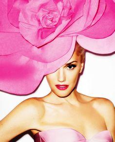 Gwen Stefani wears an oversized Think Pink! hat on the cover of Harper's Bazaar's September 2012 issue #LaVieEnRose