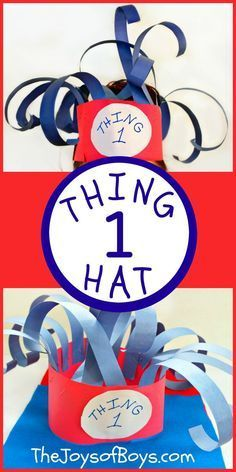 Thing 1 Hat : Easy Dr Seuss Dress-up Idea We love reading week but not so much dress up days. This Thing 1 Hat was an easy Dr Seuss Dress-up Idea! Dr. Seuss, Dr Seuss Art, Dr Seuss Crafts, Dr Seuss Week, Preschool Crafts, Kid Crafts, Crafts Toddlers, Daycare Crafts, Preschool Curriculum