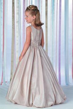 A-Line Round-neck Floor- Length Taffeta Flower girls Dress