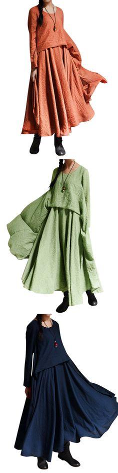 US$ 27.04O-Newe Casual Long Sleeve Irregular Maxi Dress For Women