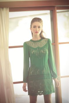 Gorgeous green lace dress from Champagne & Strawberry