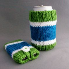 Items similar to Coffee/Beer Cup Can iPhone iPod Touch Cozy Set Handknit Green, White and Blue Canuck Colours on Etsy Knitting Ideas, Hand Knitting, Knitting Patterns, Vancouver Canucks, Coolers, Ipod Touch, Drink Sleeves, Crocheting, Hockey