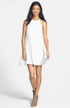 Lush Blouson Chiffon Skater Dress (Juniors) | Nordstrom