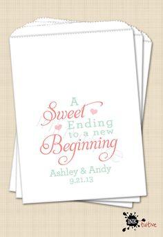 Candy Bar Buffet Bags, Wedding Favor Bags, Custom Favor Bag, Sweet Ending to a New Beginning - Set of 25