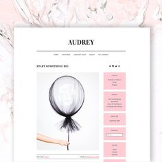 WordPress Theme: Audrey. Pretty, feminine, and responsive; a great simple theme for writers, easy to setup and comes with step by step instructions. Pink accents too.