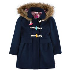 Silken duffle-coat made of viscose and polyester blend. Spotted silken lining. Removable buttoned hood with a synthetic fur trim. Zipper under a strap with three colourful frog buttons. Machine wash at 30°C. - $ 95.00
