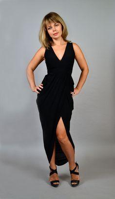 Black wrap style maxi dress