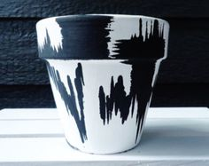 Hand-Painted White and Black Abstract by LaurenAlleyneArt on Etsy Q Tip Holder, Painted Flower Pots, Black Abstract, Exotic Plants, Terracotta Pots, Candy Jars, Clay Pots, Potpourri, Colorful Flowers