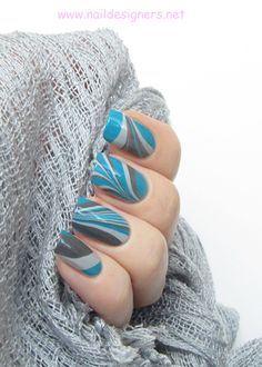 Cool Blue And Grey Water Marble Nail