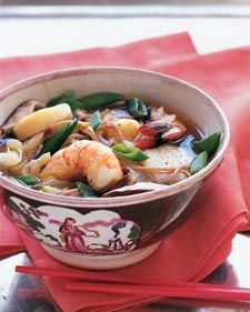 Asian Broth with Poached Shrimp, Scallops, and Soba Noodles - Whole Living Eat Well