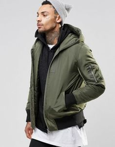 ASOS Hooded Bomber Jacket With MA1 Pocket In Khaki