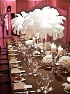 Not gonna lie, it sorta reminds me of Dr. Suess-but in a good way! Ostrich Feather Centerpieces! Need feathers, Shop www.featherplace.com