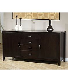 @Overstock - Made from sturdy rubberwood and finished in an attractive espresso hue, this Axium buffet offers a stylish look and promises many years of service. With four drawers, two cupboards, and an adjustable inner shelf it provides plenty of storage space.http://www.overstock.com/Home-Garden/Axium-Buffet/2767234/product.html?CID=214117 $444.99
