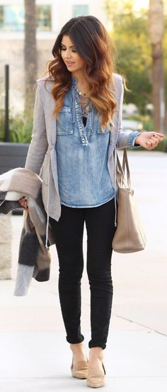 #spring #fashion /  Grey Blazer / Denim Shirt / Black Skinny Jeans / Beige Leather Tote Bag / Beige Pumps