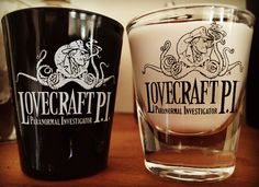 New merchandise arriving for the HPLovcecraft Film Festival. October 7-9 2016~ Come one! Come all!! Shot glasses are $5 each~ contact us here or in www.lovecraftpi.com