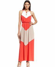 Vince Camuto Colorblock Chevron Halter Maxi Dress