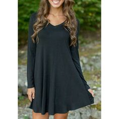 $12.74 Simple Style Black V-Neck Long Sleeve Loose Mini Dress For Women