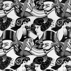 The print, Eight Heads, was made when Escher was still at art school